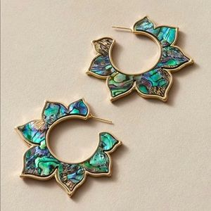 3/$30 Abalone Shell Floral Hoop Earrings